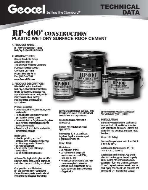 RP-400 Construction Plastic Wet-Dry Surface Roof Cement