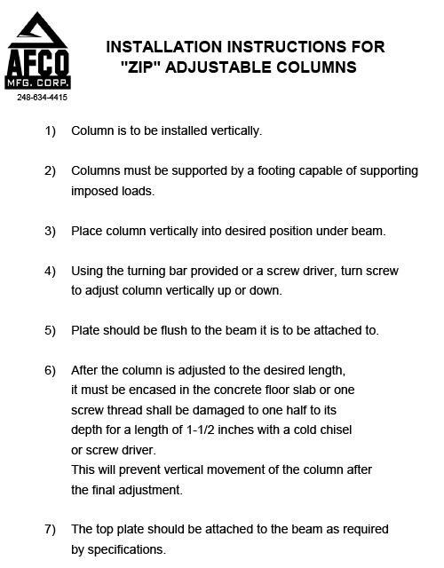 Zip Adjustable Columns Instructions