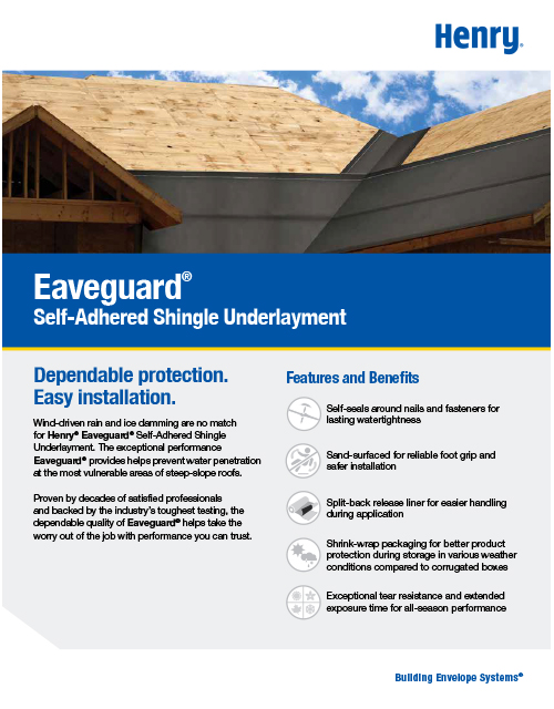 Eaveguard Self-Adhered Shingle Underlayment