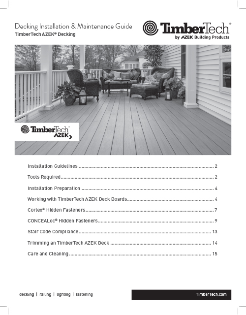 TimberTech AZEK Decking Install & Maintenance Guide