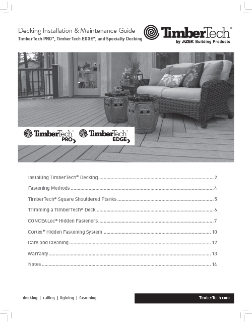 TimberTech Pro & Edge Decking Install & Maintenance Guide